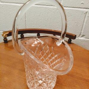 Vintage Crystal Basket With Handle